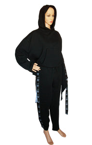 Front view of VETEMENTS Black Sweatsuit Hoodie Size: Small, Pant Size: Large