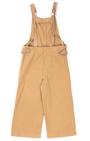 Beige overalls with back zipper and adjustable sides