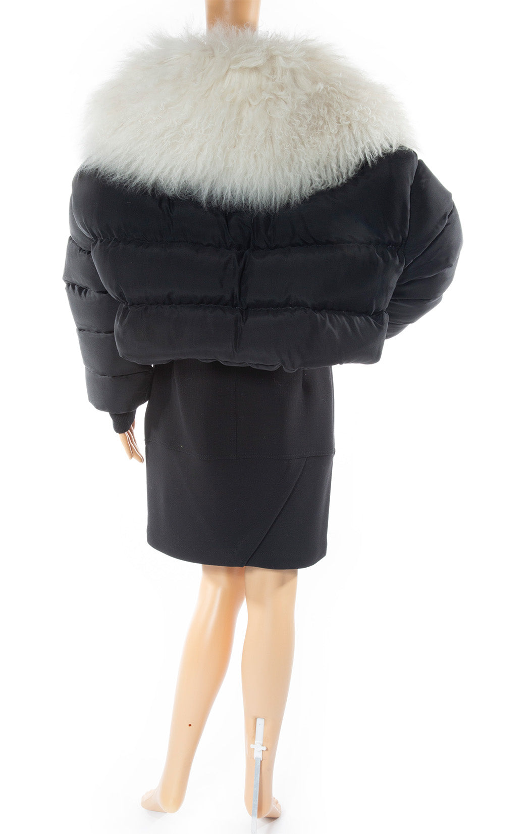 Back view of UNRAVEL Puffer jacket With lamb fur
