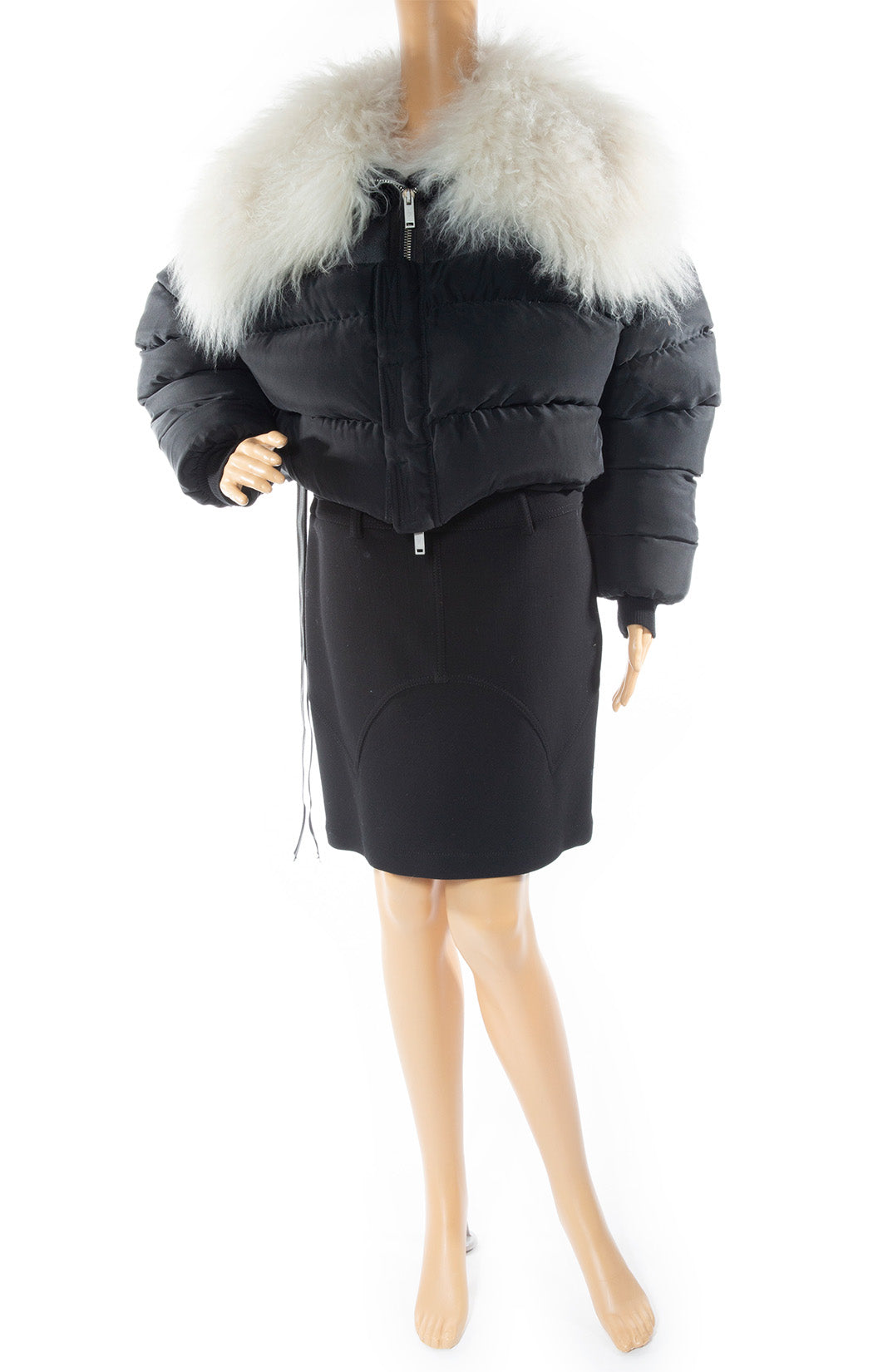 Front view of UNRAVEL Puffer jacket With lamb fur Size: FR 6 (comparable to US 4)