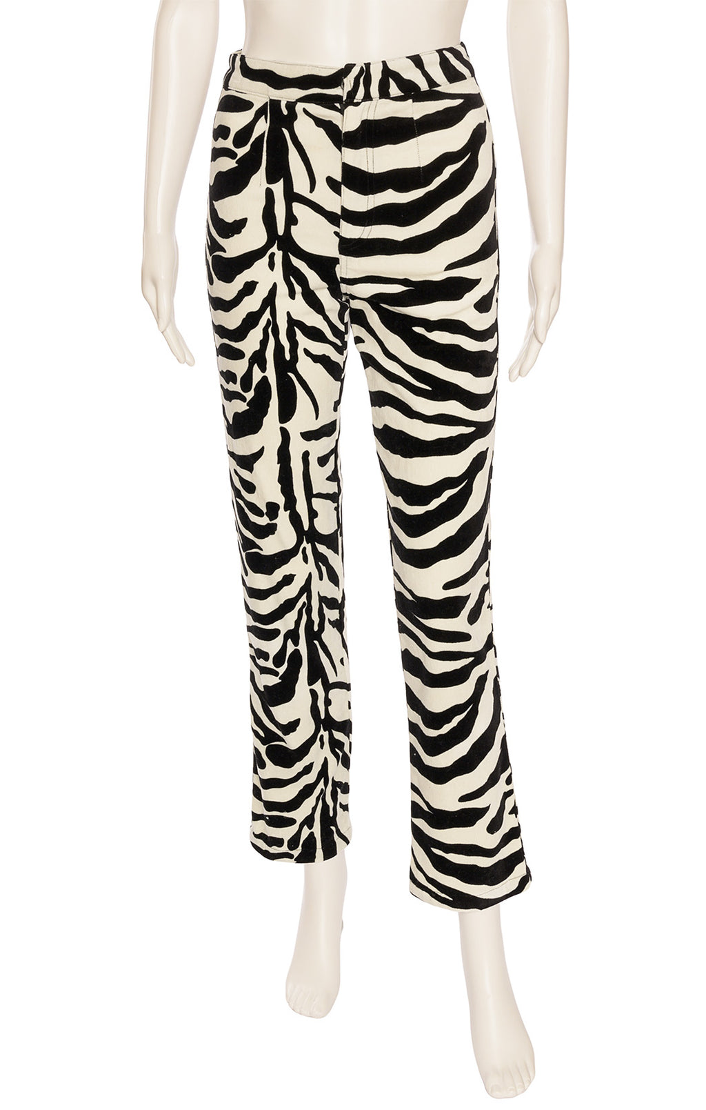 Black and white velvet like fabric print jean pant with front zipper and back pockets