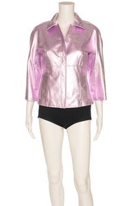 Pink metallic leather Jacket