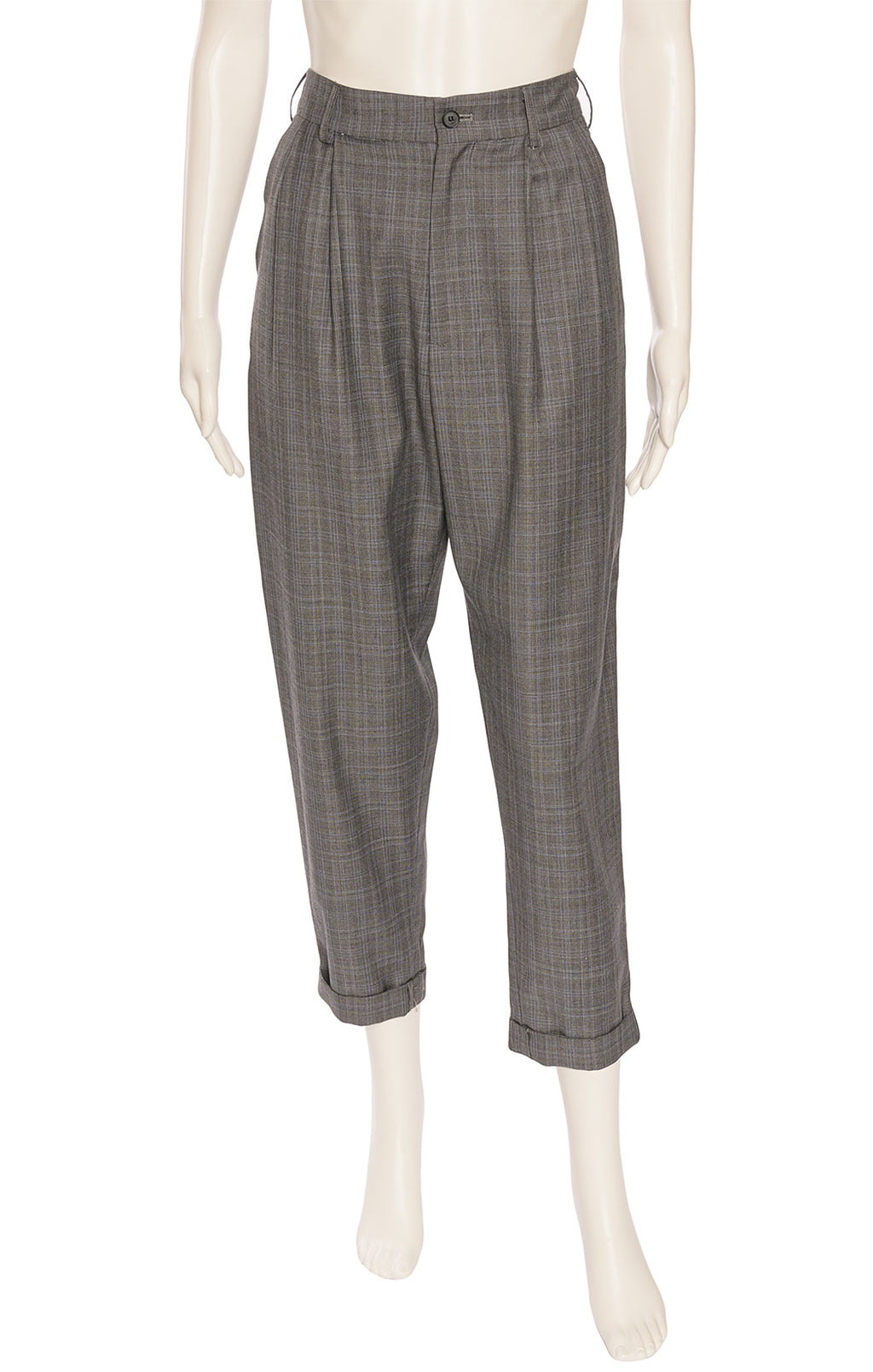 Gray plaid trouser style pant with cuffs, front zipper, belt loops and side and back pockets