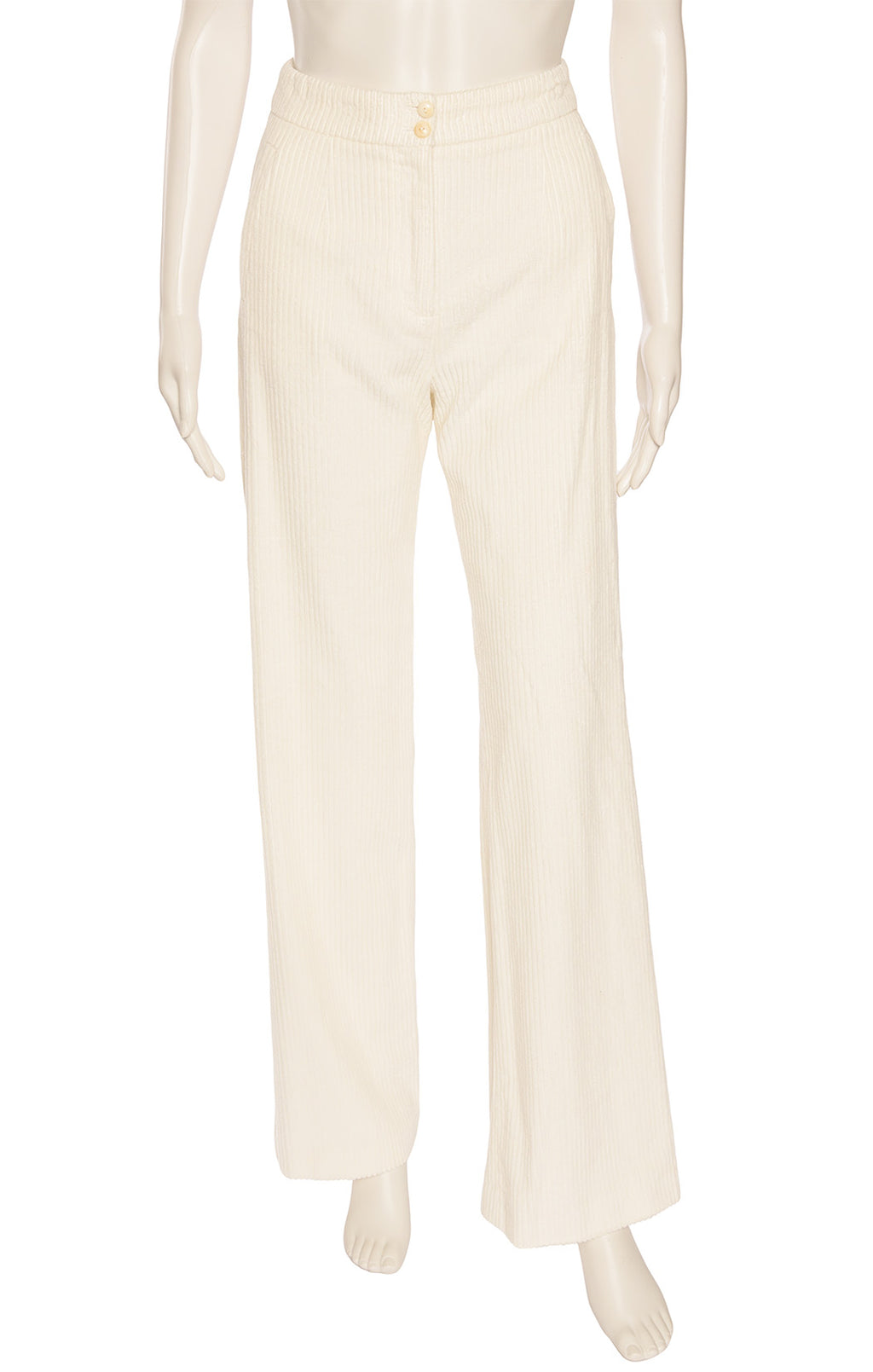 Ivory corduroy pant with zipper front, side slit pockets and back slit pockets