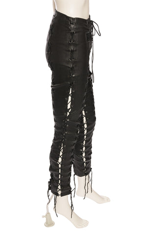 Bk's k leather lace up front pants with lacing on top to bottom on front sides and back