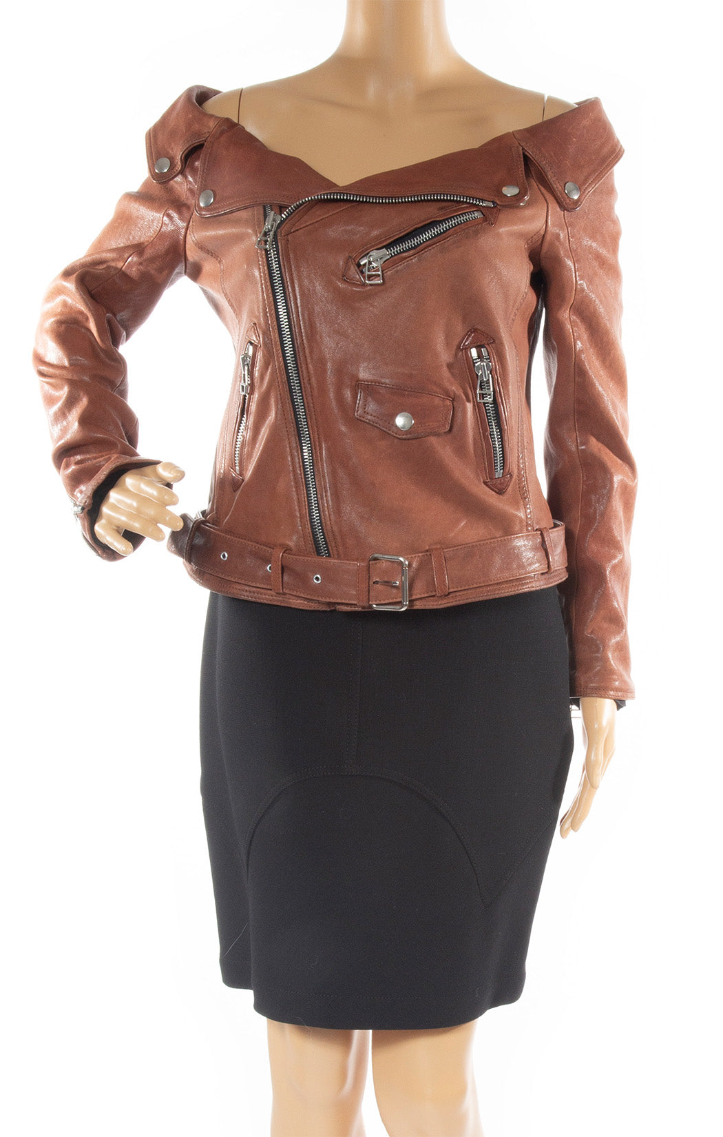 Closeup of FAITH CONNECTION Leather jacket Size: FR 40 ( comparable to US 8)