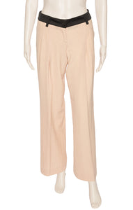 Beige with peach tone pleated pant with black waistband
