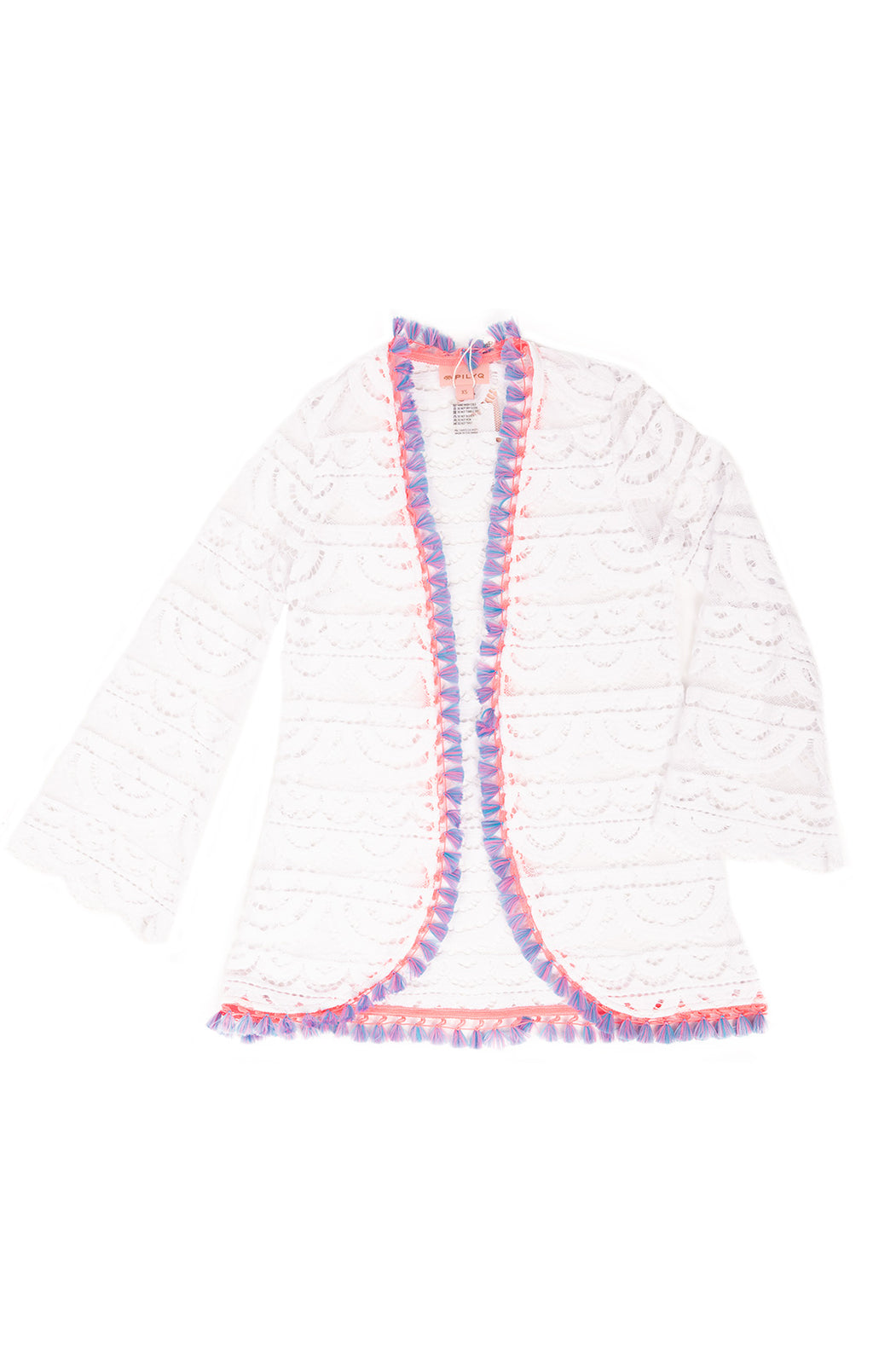 White lace kimono/ coverup with pink and purple fringe border