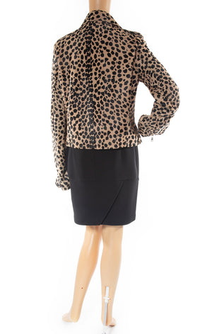 Back view of R & A  Leopard calf hair jacket
