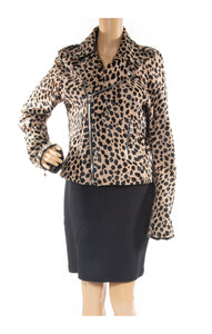 Closeup of R & A  Leopard calf hair jacket Size: Large