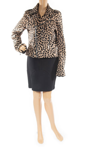 Front view of R & A  Leopard calf hair jacket
