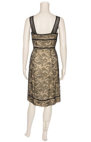 Black lace sleeveless dress with sheer black top straps