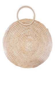 "View of MNG Straw Handbag Size: 18.5"" diameter"