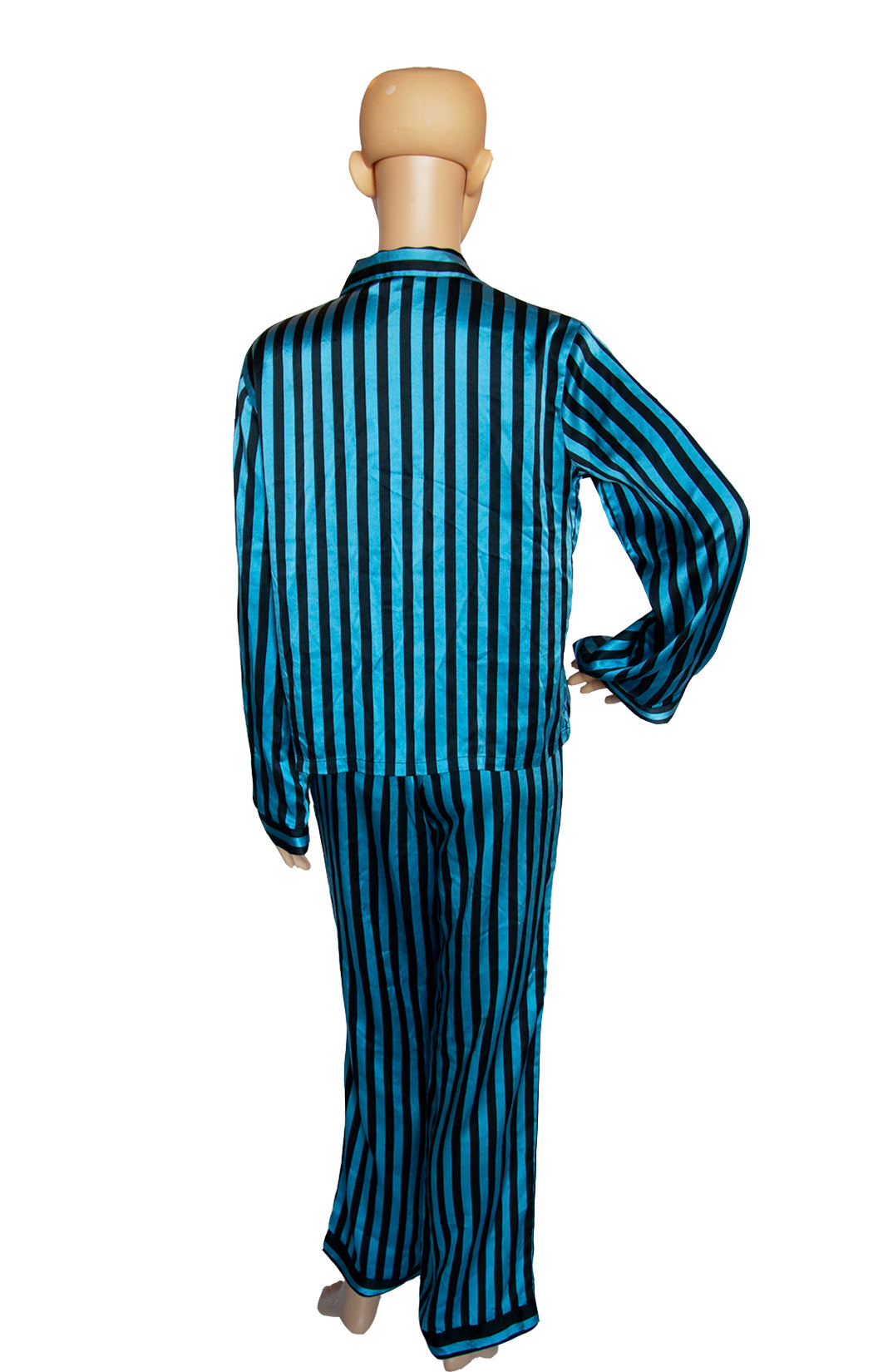 Back view of MORGAN LANE Striped Pajama Set
