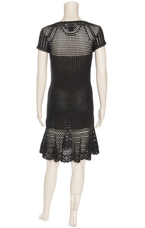 Charcoal gray textured crocheted short sleeve form fitting dress