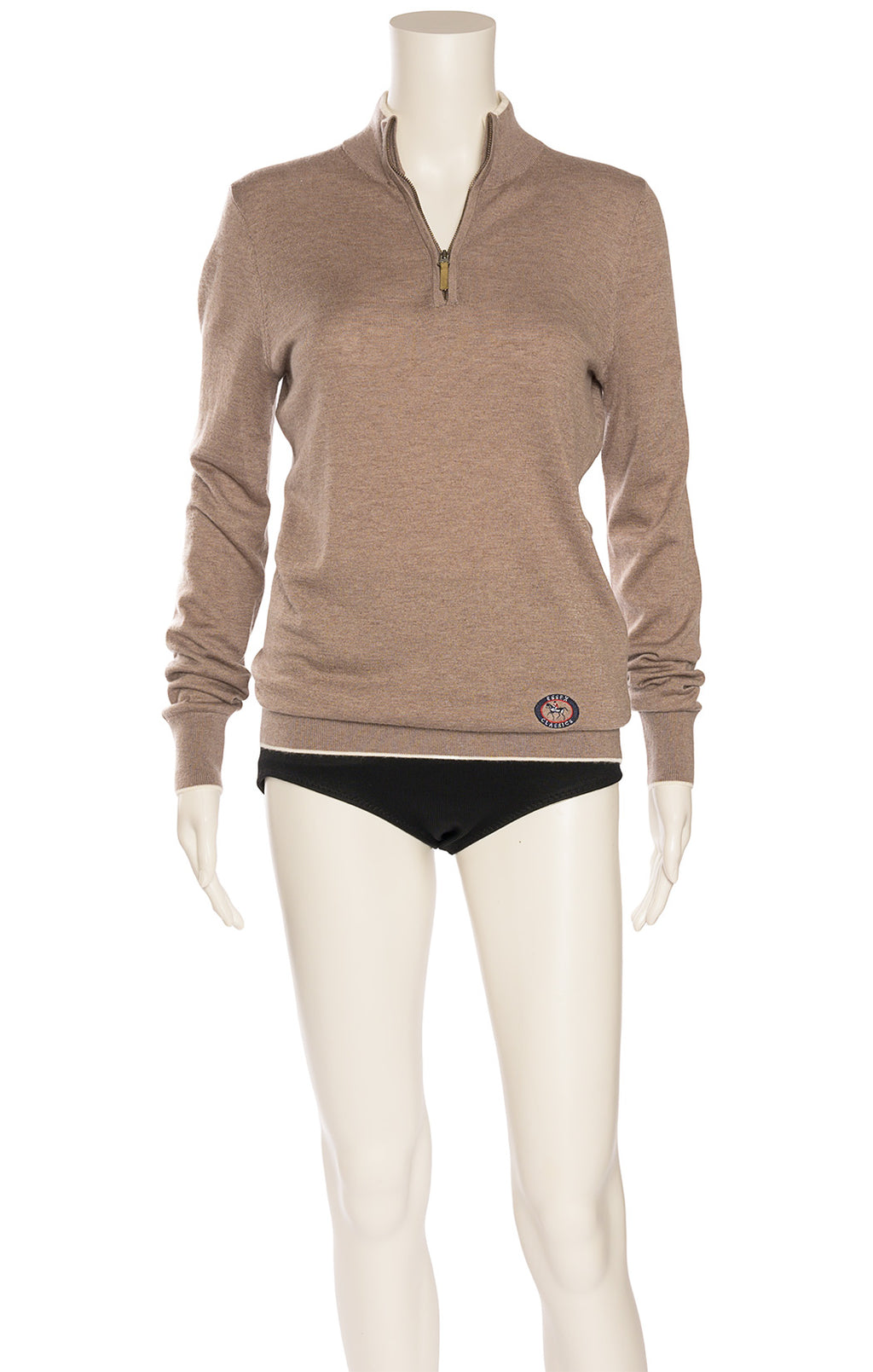 Taupe can with white border and back elbow patch long sleeve sweater with top zipper opening