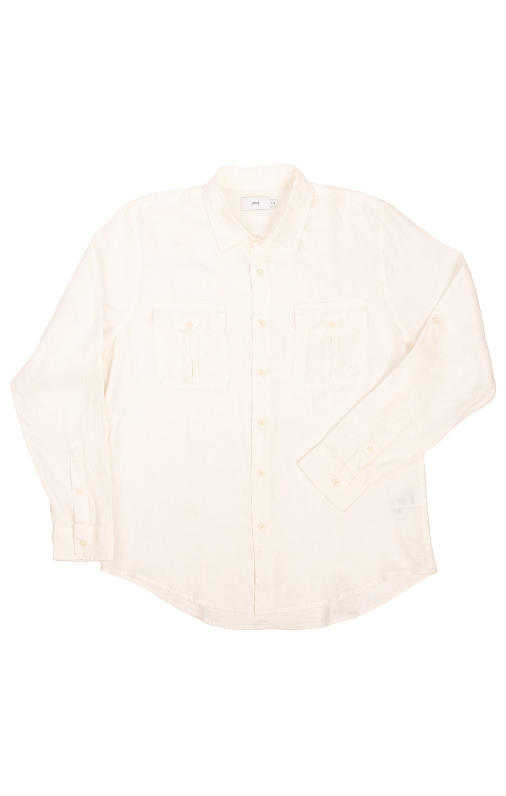 White linen long sleeve button-down shirt with two front flap pockets