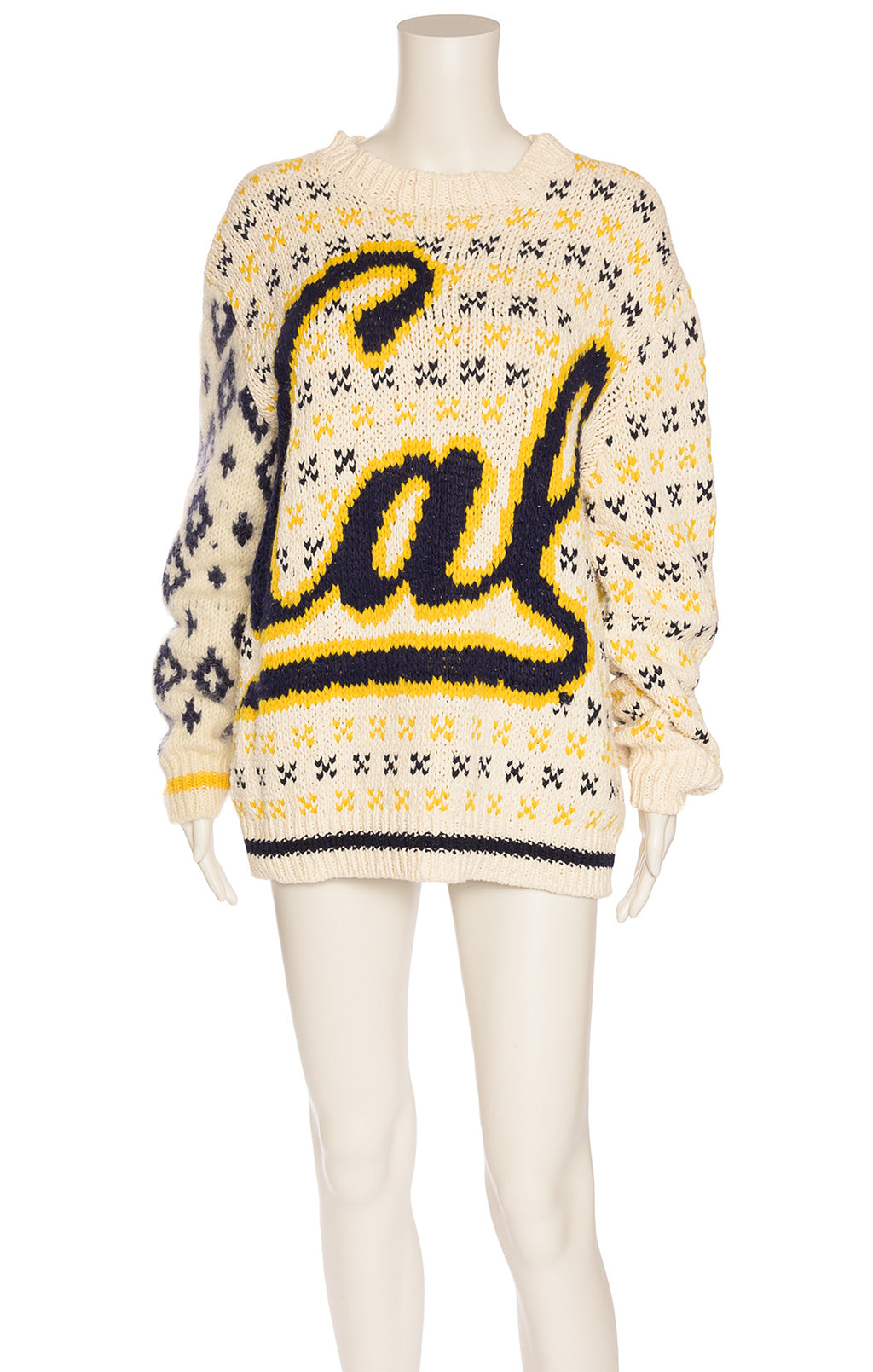 "Yellow blue and shite ""CAL Berkeley"" long sleeve sweater"