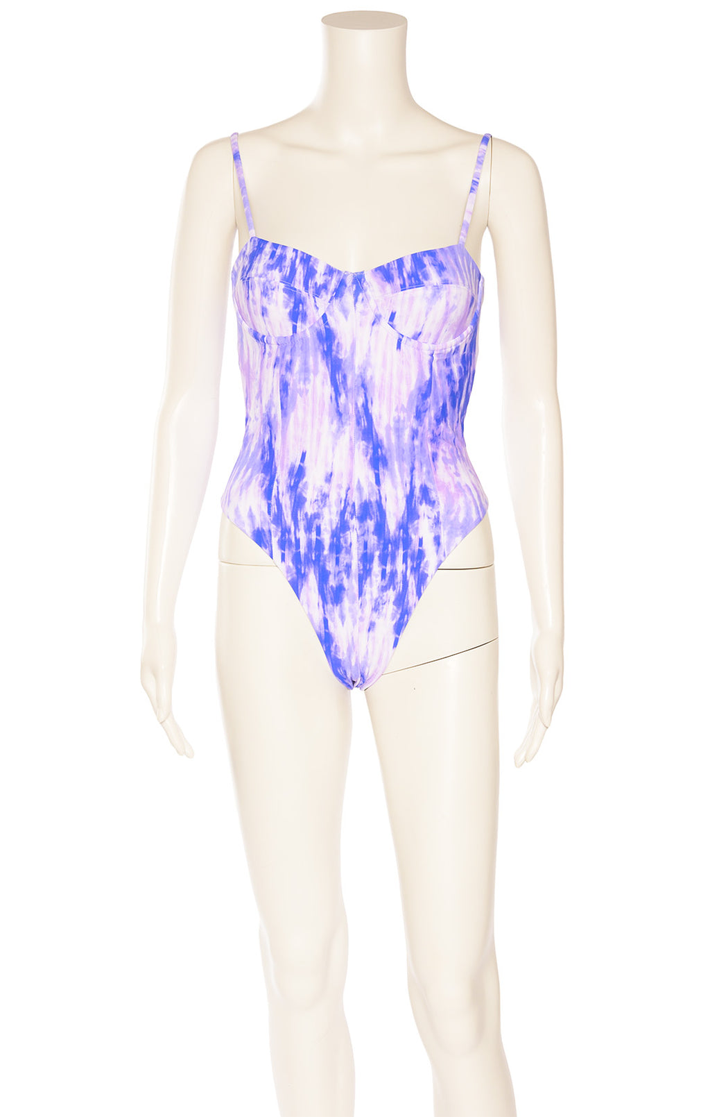 Purple tie dye one piece bathing suit with bra cup and back hook closure