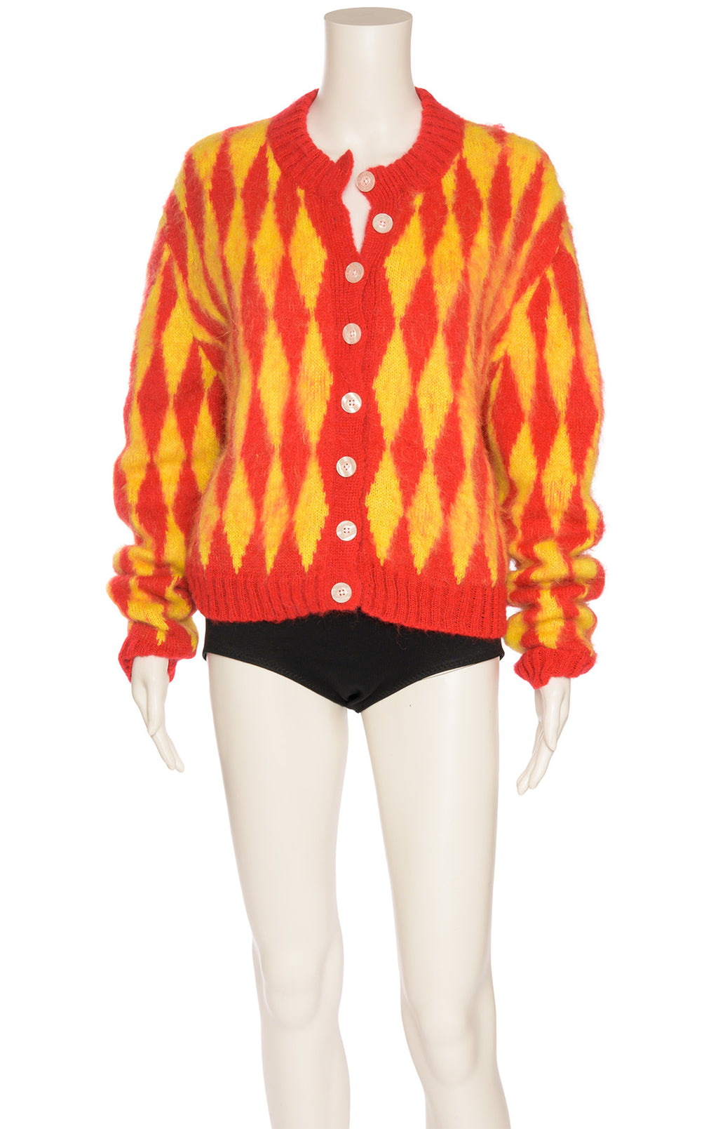 Red and yellow long sleeve button down cardigan