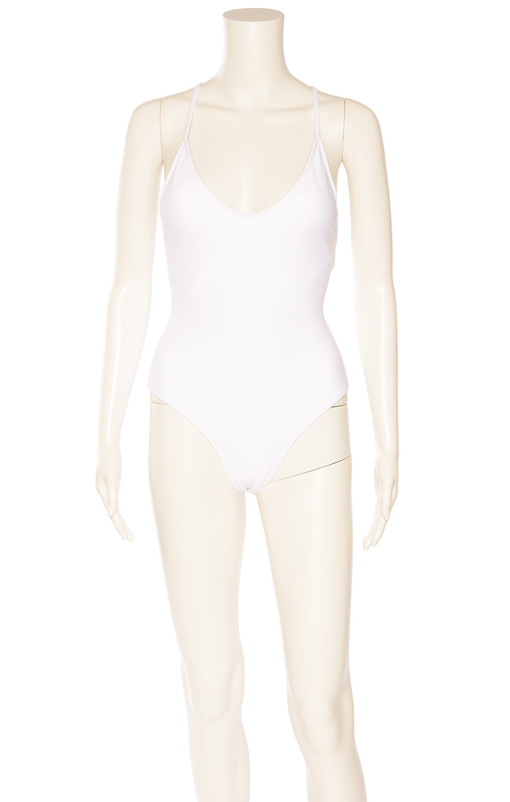 White one piece bathing suit with padded bra and back lacing