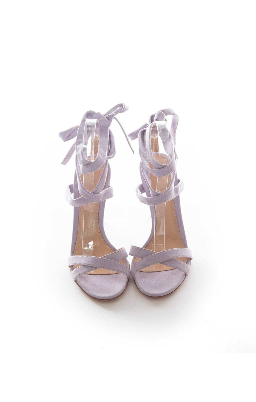 "Lavender suede lace up ankle strap sandal with lavender lucite block 4.25"" heel"
