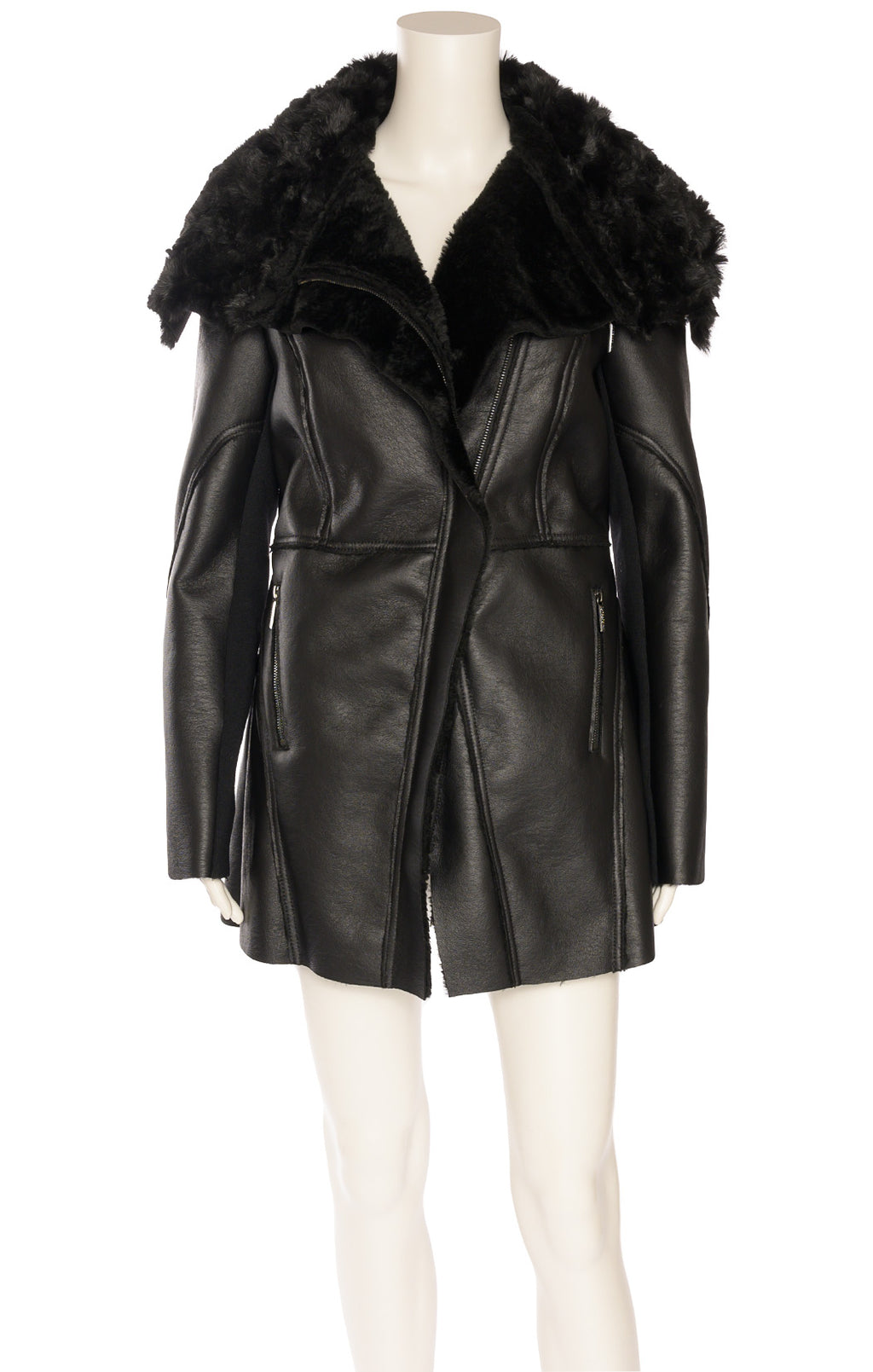 Black faux leather and faux fur jacket