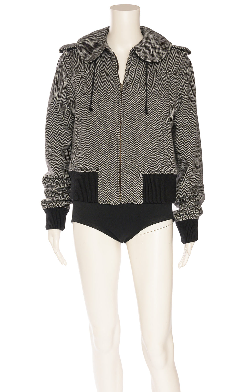 Black and white herringbone zipper front jacket