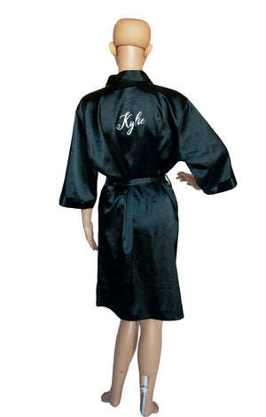 Back view of NO NAME Black Wrap Robe