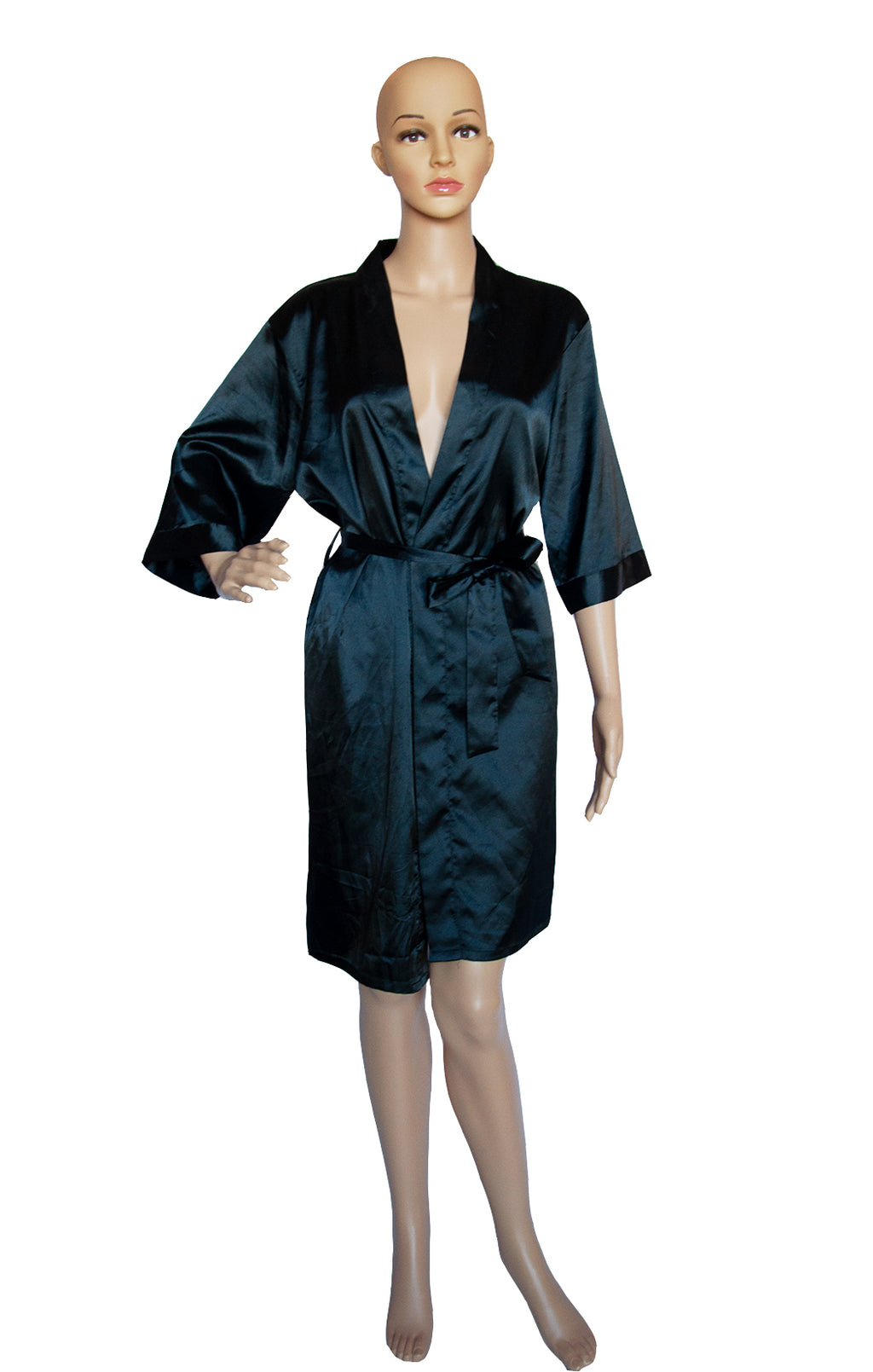 Front view of NO NAME Black Wrap Robe Size: No tags, fits like medium