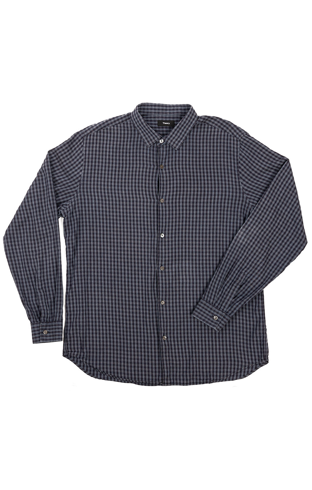Blue check button down long sleeve shirt