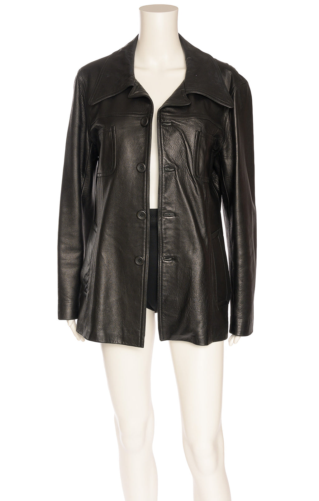 Black button down leather jacket with four pockets in front