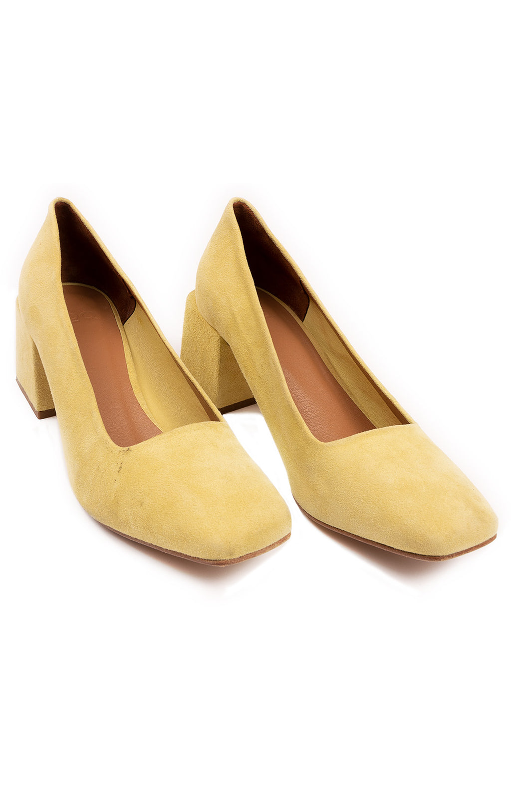 Yellow suede square toe pumps with 3.5 block heel
