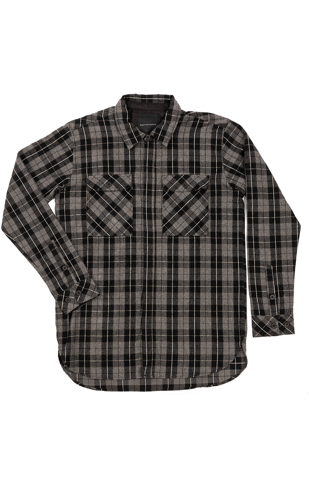 Black and gray plaid button down long sleeve shirt with two front patch pockets