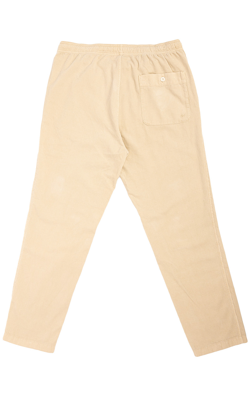 Beige corduroy elastic drawstring pants with side pockets and back pocket