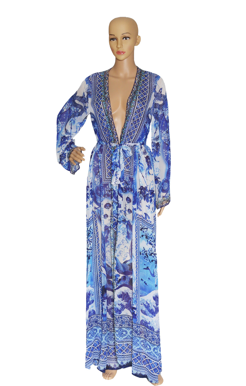 Front view of SHAHIDA  Long Robe/Coverup Size: Medium-Large