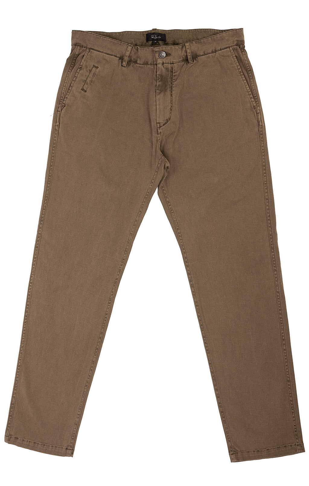 Olive green pants with side and back pockets