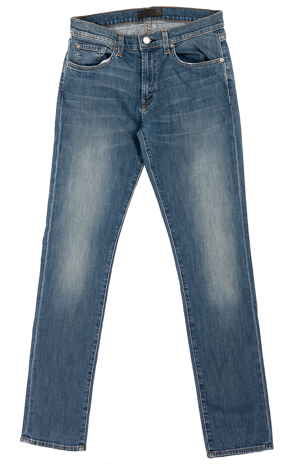 Denim five pocket jeans (somewhat distressed)