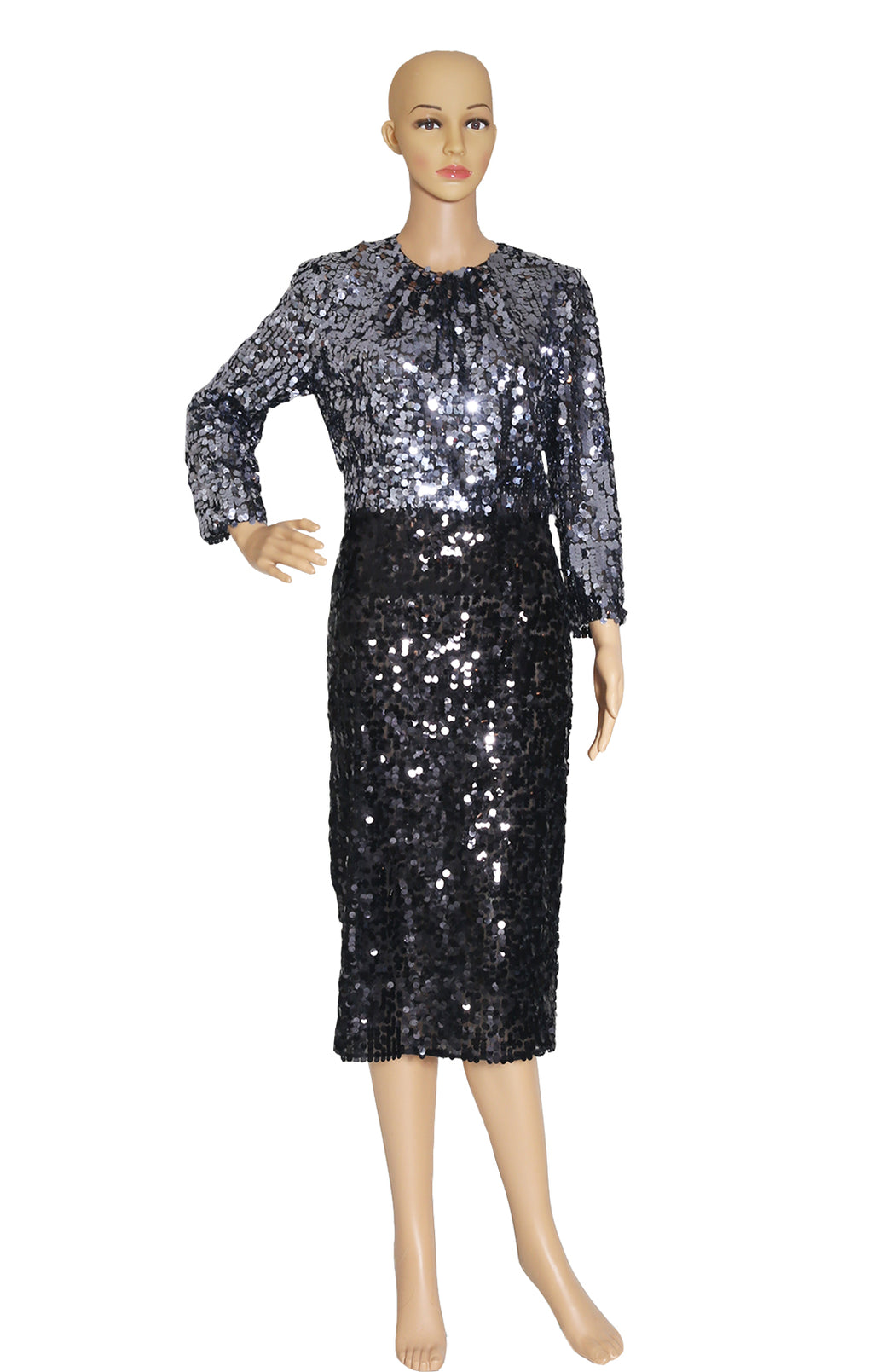 Front view of DOLCE AND GABBANA Full Sequined Dress with Tags Size: IT 44 (US 8)