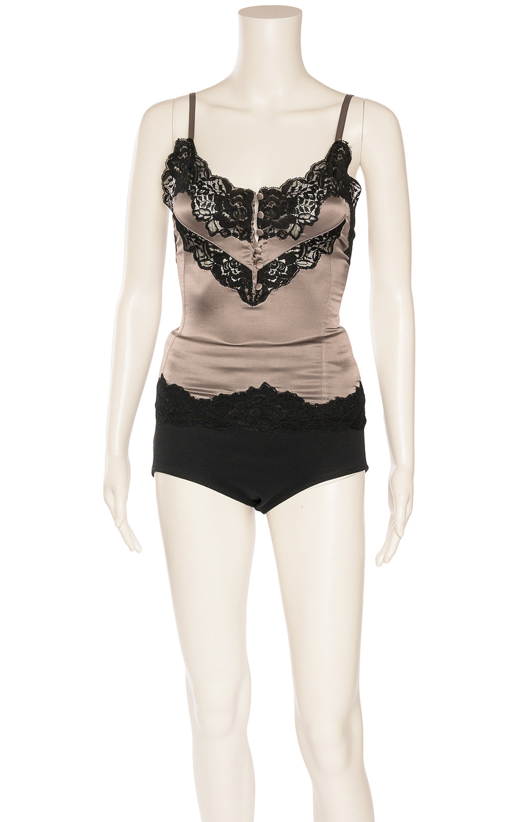 Gray with black lace and front button camisole with adjustable straps