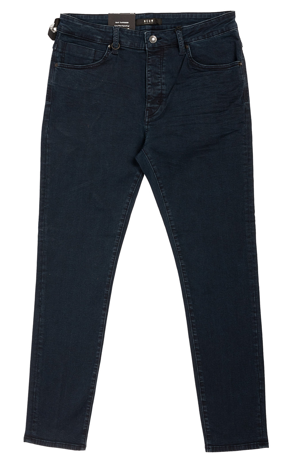 Dark denim five pocket style loose leg tapered jeans