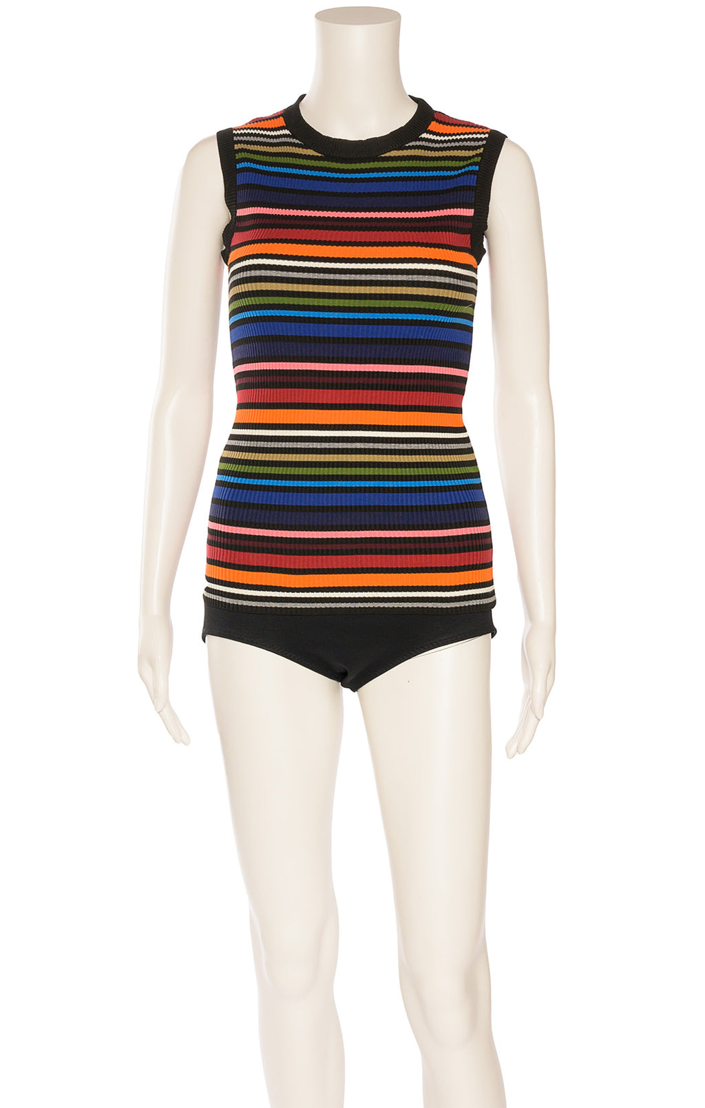 Multi colored strip knit like sleeveless top