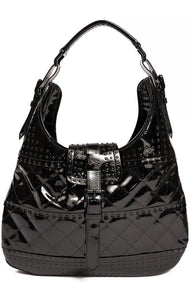 Black patent leather handbag with front snap closure, 2 inside pockets and inside zipper pocket