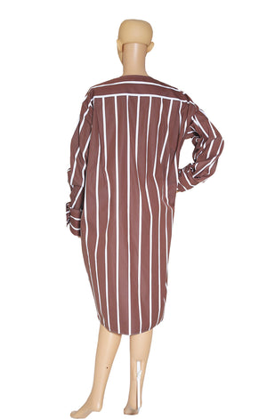 Back view of CELINE  Brown Striped Tunic