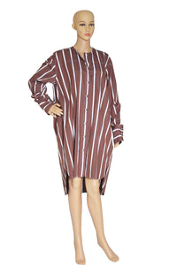 Front view of CELINE  Brown Striped Tunic Size: FR 38 (US 6)