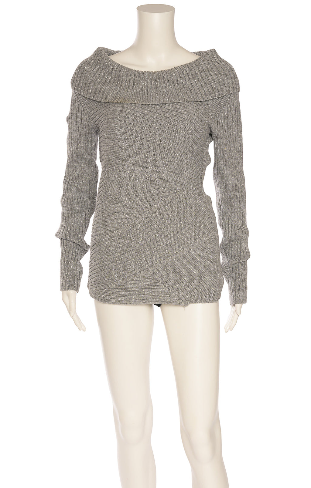 Silver gray lurex turtleneck sweater