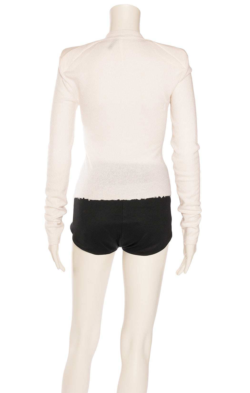 Off white long sleeve  sweater with frayed hemline and holes on side (design)