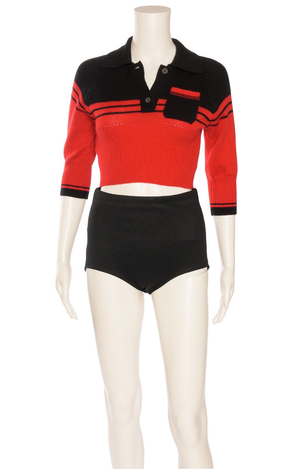 Black and red 3/4 sleeve crop sweater with one button front tab, side upper pocket