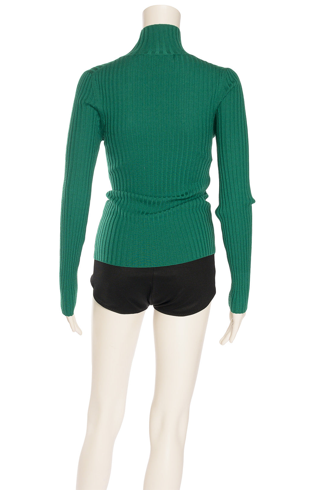 Kelly green ribbed knit long sleeve turtleneck