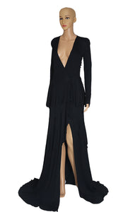 Front view of ROBERTO CAVALLI Long Black Dress Size IT 42 (US 6)